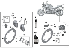 Goto diagram: BMW Classic Motorrad Modell R 1200 RS (0A05, 0A15)( USA ), Category 02.10 Service, brakes :: Diagram: 02_0124