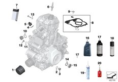 Goto diagram: BMW Classic Motorrad Modell G 310 GS (0G02, 0G12)( USA ), Category 02.05 Service, engine oil / inspection :: Diagram: 02_0137