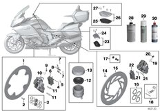 Goto diagram: BMW Classic Motorbike Model K 1600 GTL 17 (0F02, 0F12)( USA ), Category 02.10 Service, brakes :: Diagram: 02_0141
