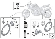 Goto diagram: BMW Classic Motorbike Model F 800 R (0215)( BRA ), Category 02.10 Service, brakes :: Diagram: 02_0156