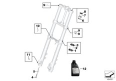Goto diagram: BMW Classic Motorrad Modell F 700 GS 17 (0B26)( BRA ), Category 02.08 Service of telescopic forks :: Diagram: 02_0158