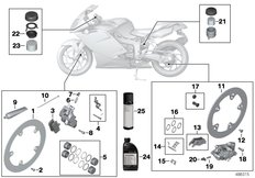Goto diagram: BMW Classic Motorbike Model K 1200 S (0581,0591)( ECE ), Category 02.10 Service, brakes :: Diagram: 02_0168