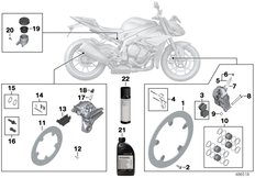 Goto diagram: BMW Classic Motorbike Model S 1000 R 17 (0D72)( BRA ), Category 02.10 Service, brakes :: Diagram: 02_0172
