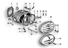 Goto diagram: BMW Classic Motorbike Model R69 S( ECE ), Category 11.20 Cylinder head :: Diagram: 11_2607