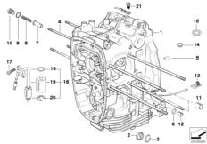 Goto diagram: BMW Classic Motorbike Model R 900 RT 05 SF (0367,0387)( ECE ), Category 11.11 Engine housing :: Diagram: 11_3569