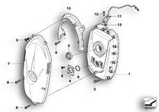Goto diagram: BMW Classic Motorbike Model R 1200 R 06 (0378,0398)( USA ), Category 11.14 Front cover/Timing chain cover :: Diagram: 11_3592