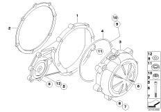 Goto diagram: BMW Classic Motorbike Model G 650 GS 09 (0178,0179)( ECE ), Category 11.14 Engine housing cover, left :: Diagram: 11_4082