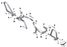 Goto diagram: BMW Classic Motorrad Modell R 1200 RT (0A03, 0A13)( USA ), Category 11.84 Engine roll bar, authority vehicles :: Diagram: 11_5631
