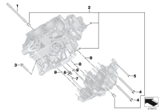 Goto diagram: BMW Classic Motorrad Modell C 650 Sport 16 (0C04, 0C14)( USA ), Category 11.11 Engine housing mounting parts :: Diagram: 11_5804