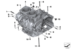 Goto diagram: BMW Classic Motorrad Modell F 700 GS 17 (0B26)( BRA ), Category 11.11 Engine housing mounting parts :: Diagram: 11_5877