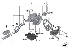 Goto diagram: BMW Classic Motorbike Model F 850 GS (0B29)( BRA ), Category 11.41 Oil pump with strainer and drive :: Diagram: 11_6761
