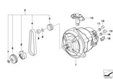 Goto diagram: BMW Classic Motorbike Model R 1100 GS 94 (0404,0409)( USA ), Category 12.31 Alternator / alternator regulator :: Diagram: 12_1554