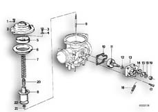 Goto diagram: BMW Classic Motorbike Model R65( USA ), Category 13.05 CARBURETOR CAP/PISTON/STARTER HOUSING :: Diagram: 13_0462