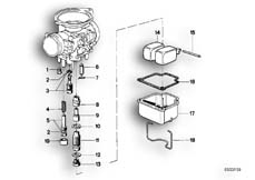 Goto diagram: BMW Classic Motorbike Model R 80 RT( USA ), Category 13.05 CARBURETOR-FLOAT ASSY/JET :: Diagram: 13_0467