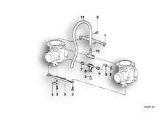 Goto diagram: BMW Classic Motorbike Model F 650 97 (0162)( ECE ), Category 13.11 CARBURETOR MOUNTING PARTS :: Diagram: 13_0536
