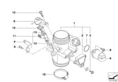Goto diagram: BMW Classic Motorrad Modell G 650 Xcountry 07 (0164,0194)( USA ), Category 13.54 Throttle housing Assy :: Diagram: 13_0886