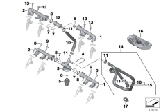 Goto diagram: BMW Classic Motorbike Model S 1000 RR 10 (0507,0517)( USA ), Category 13.53 VALVES/PIPES OF FUEL INJECTION SYSTEM :: Diagram: 13_1366