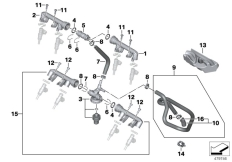 Goto diagram: BMW Classic Motorbike Model S 1000 R 17 (0D72)( BRA ), Category 13.53 VALVES/PIPES OF FUEL INJECTION SYSTEM :: Diagram: 13_1515