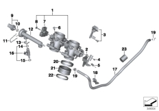 Goto diagram: BMW Classic Motorbike Model F 800 R (0215)( BRA ), Category 13.54 Throttle housing Assy :: Diagram: 13_1776