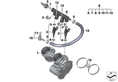 Goto diagram: BMW Classic Motorbike Model F 850 GS (0B29)( BRA ), Category 13.54 Throttle valve and operation :: Diagram: 13_1968