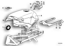 Goto diagram: BMW Classic Motorbike Model K 100 RS 83 (0502,0503,0513)( ECE ), Category 16.05 FUEL TANK/ATTACHING PARTS :: Diagram: 16S0242