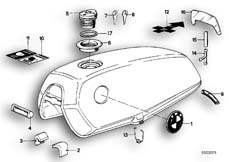 Goto diagram: BMW Classic Motorbike Model R65( USA ), Category 16.03 FUEL TANK MOUNTING PARTS :: Diagram: 16_0228