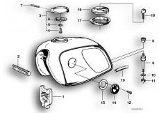 Goto diagram: BMW Classic Motorbike Model R75/5( ECE ), Category 16.05 FUEL TANK MOUNTING PARTS :: Diagram: 16_0233