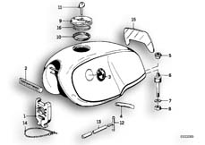 Goto diagram: BMW Classic Motorbike Model R 100 RS( ECE ), Category 16.05 FUEL TANK MOUNTING PARTS :: Diagram: 16_0236