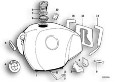 Goto diagram: BMW Classic Motorbike Model R 100 R Mystik 94( USA ), Category 16.05 GS FUEL TANK :: Diagram: 16_0250