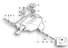 Goto diagram: BMW Classic Motorbike Model K 1200 GT 01 (0548,0558)( USA ), Category 16.11 FUEL TANK MOUNTING PARTS :: Diagram: 16_0289