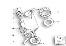 Goto diagram: BMW Classic Motorbike Model K 1200 GT 01 (0548,0558)( USA ), Category 16.14 FUEL PUMP/FUEL FILTER :: Diagram: 16_0421