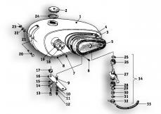 Goto diagram: BMW Classic Motorbike Model R69 S( ECE ), Category 16.05 Fuel tank :: Diagram: 16_0438
