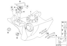 Goto diagram: BMW Classic Motorbike Model G 650 GS 09 (0178,0179)( ECE ), Category 16.11 FUEL TANK/ATTACHING PARTS :: Diagram: 16_0467