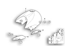 Goto diagram: BMW Classic Motorrad Modell R 1150 R 01 (0429,0439)( USA ), Category 16.11 Fuel tank/cover, right :: Diagram: 16_0486