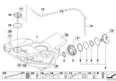 Goto diagram: BMW Classic Motorbike Model F 800 GT (0B03, 0B13)( USA ), Category 16.11 Fuel tank/mounting parts :: Diagram: 16_0643