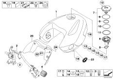 Goto diagram: BMW Classic Motorbike Model R 1200 R 06 (0378,0398)( USA ), Category 16.11 Fuel tank :: Diagram: 16_0648