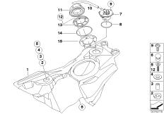 Goto diagram: BMW Classic Motorrad Modell G 650 Xcountry 07 (0164,0194)( USA ), Category 16.11 Fuel tank/mounting parts :: Diagram: 16_0664