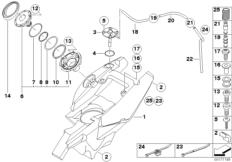 Goto diagram: BMW Classic Motorrad Modell F 700 GS 17 (0B06, 0B16)( USA ), Category 16.11 Fuel tank/mounting parts :: Diagram: 16_0692