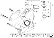 Goto diagram: BMW Classic Motorrad Modell R 900 RT 05 SF (0367,0387)( ECE ), Category 16.11 Fuel tank :: Diagram: 16_0745