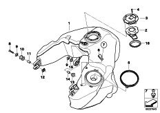Goto diagram: BMW Classic Motorbike Model R 1200 RT 10 (0430,0440)( USA ), Category 16.11 Fuel tank/mounting parts :: Diagram: 16_0761