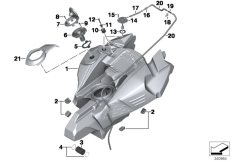 Goto diagram: BMW Classic Motorrad Modell F 800 GS Adve. (0B05, 0B15)( ECE ), Category 16.11 Fuel tank/mounting parts :: Diagram: 16_0900