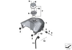 Goto diagram: BMW Classic Motorrad Modell G 310 GS (0G02, 0G12)( USA ), Category 16.11 Fuel tank/mounting parts :: Diagram: 16_1138