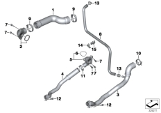 Goto diagram: BMW Classic Motorbike Model K 1600 Bagger (0F51, 0F53)( USA ), Category 17.12 Cooling system coolant hoses :: Diagram: 17_0591