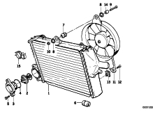 Goto diagram: BMW Classic Motorbike Model K 1100 LT (0526, 0536)( ECE ), Category 17.11 RADIATOR - THERMOSTAT/FAN :: Diagram: 17_0624