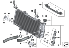 Goto diagram: BMW Classic Motorrad Modell F 700 GS (0B21)( BRA ), Category 17.11 Radiator :: Diagram: 17_0691