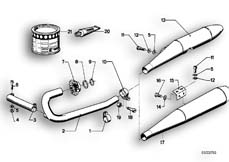Goto diagram: BMW Classic Motorbike Model R75/5( ECE ), Category 18.05 Exhaust system :: Diagram: 18_0265