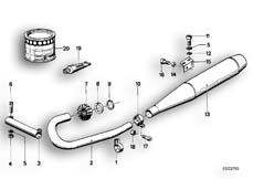 Goto diagram: BMW Classic Motorbike Model R 100 S( ECE ), Category 18.05 Exhaust system :: Diagram: 18_0270