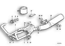 Goto diagram: BMW Classic Motorbike Model R 100 R Mystik 94( USA ), Category 18.05 Exhaust system :: Diagram: 18_0281