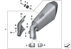 Goto diagram: BMW Classic Motorbike Model S 1000 XR (0D23)( BRA ), Category 18.51 Rear silencer :: Diagram: 18_1116
