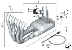 Goto diagram: BMW Classic Motorbike Model S 1000 RR 17 (0D50, 0D60)( ECE ), Category 18.51 Manifold with front silencer :: Diagram: 18_1384